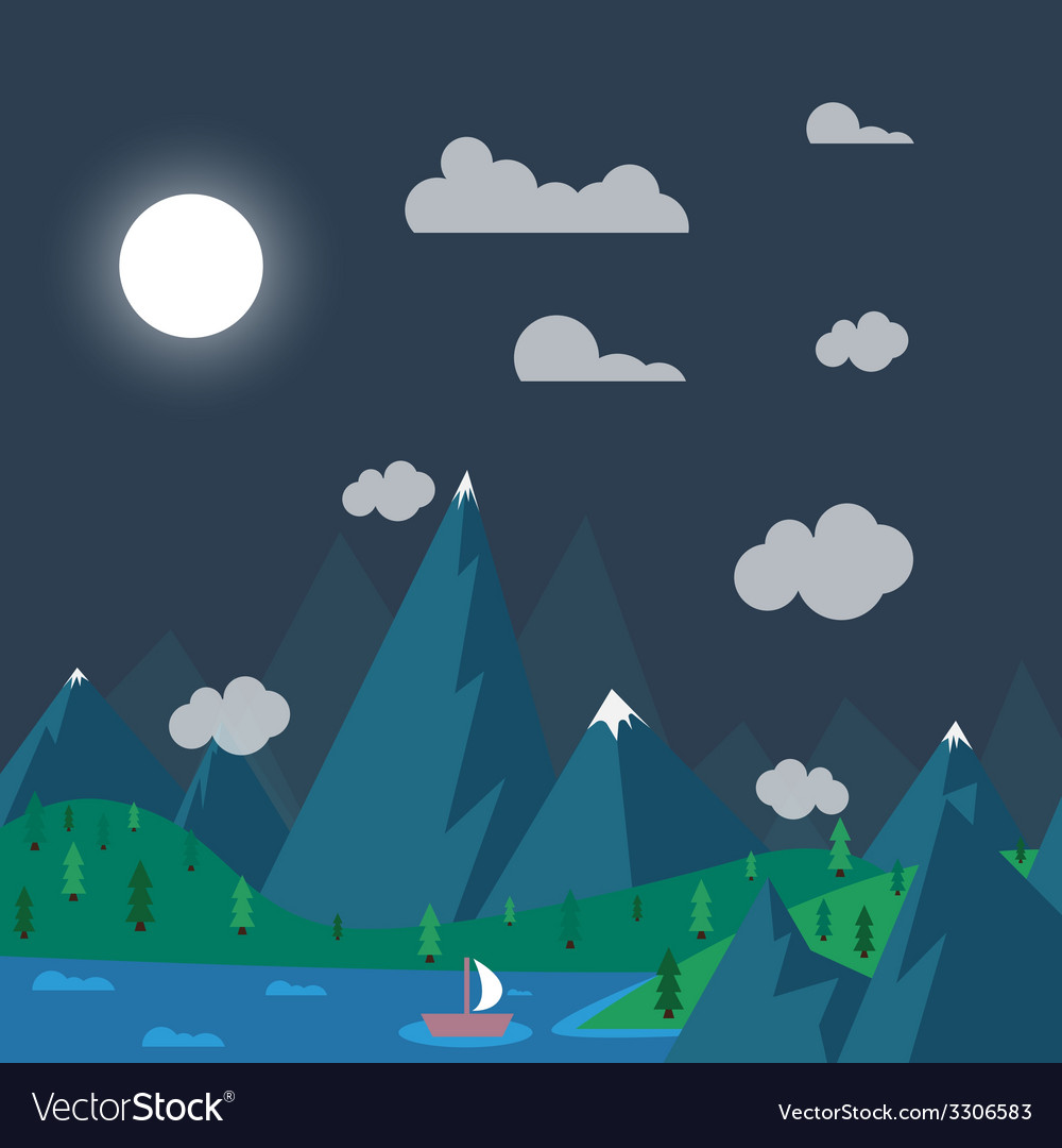 Natural landscape in nighttime the style of flat vector | Price: 1 Credit (USD $1)