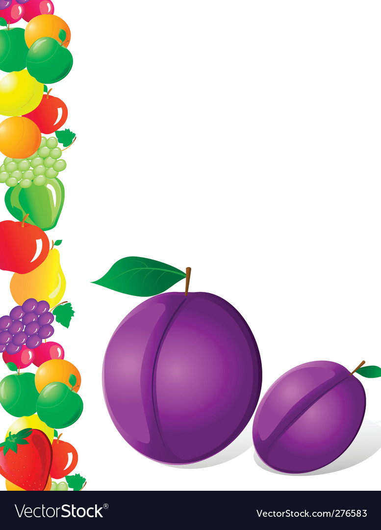 Plum and fruit vector | Price: 1 Credit (USD $1)