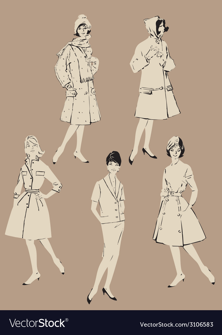 Retro girl set 380 vector | Price: 1 Credit (USD $1)