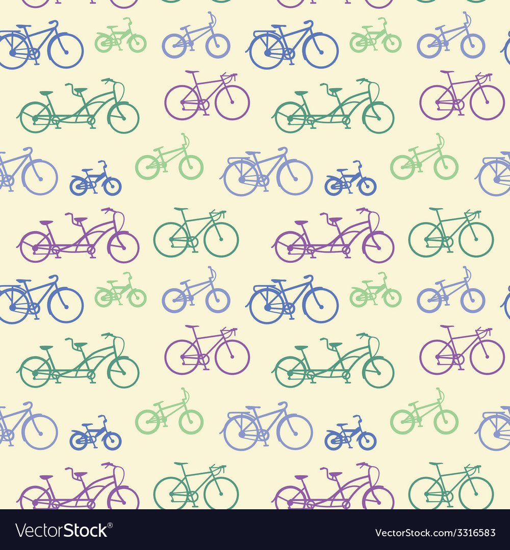 Seamless pattern with hand drawn bicycles vector | Price: 1 Credit (USD $1)