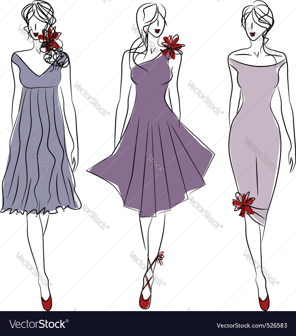 Three catwalk models vector | Price: 1 Credit (USD $1)