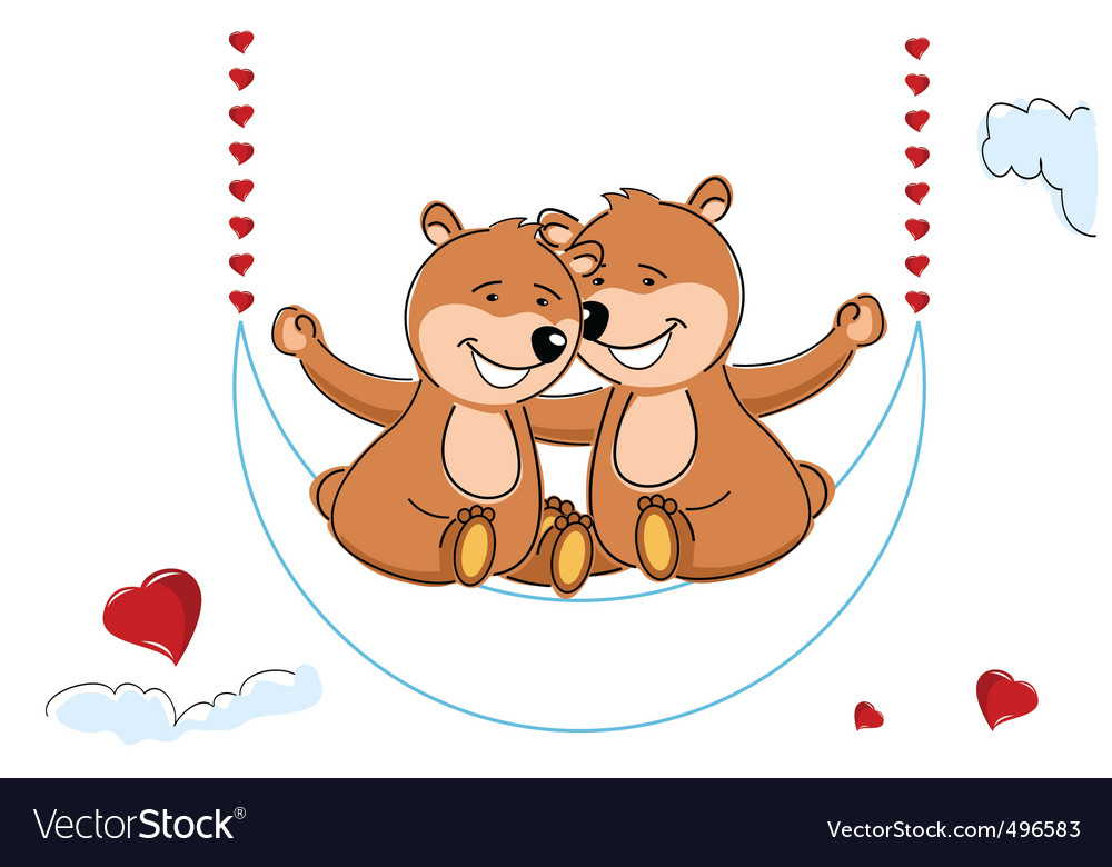 Valentine's teddy bears vector | Price: 1 Credit (USD $1)