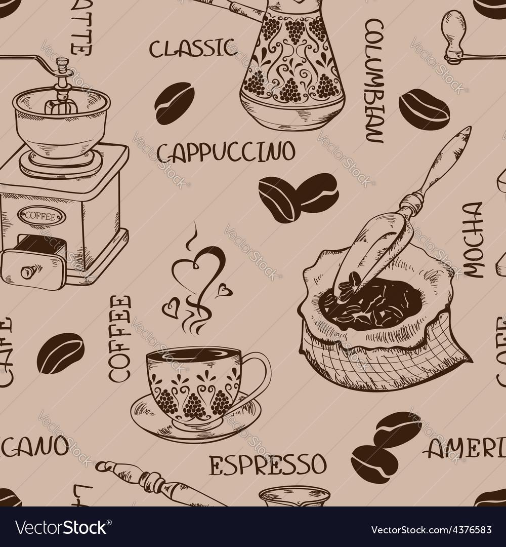 Vintage coffee seamless pattern vector | Price: 1 Credit (USD $1)