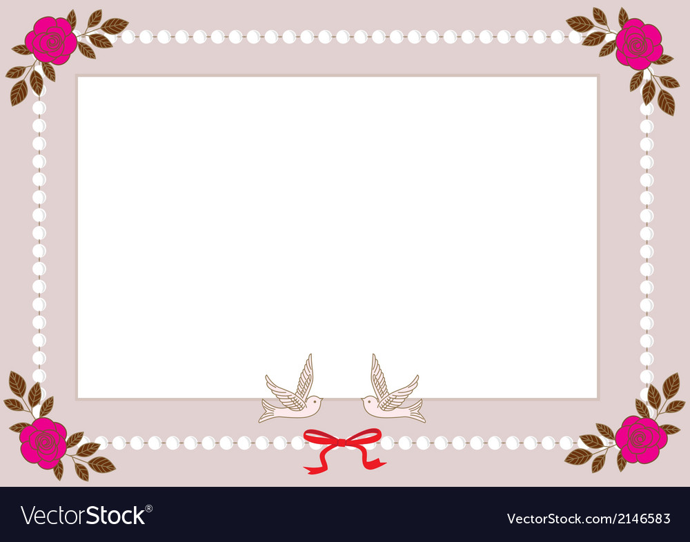 Vintage frame with pearls roses and birds vector | Price: 1 Credit (USD $1)