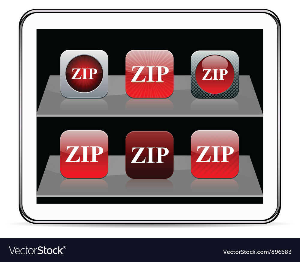 Zip red app icons vector | Price: 1 Credit (USD $1)