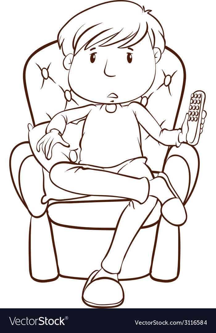 A plain sketch of a lazy man holding a remote vector | Price: 1 Credit (USD $1)