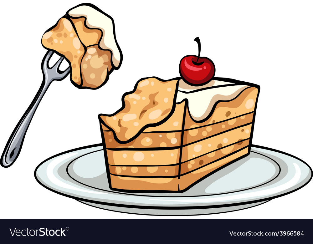 A slice of cake vector | Price: 1 Credit (USD $1)