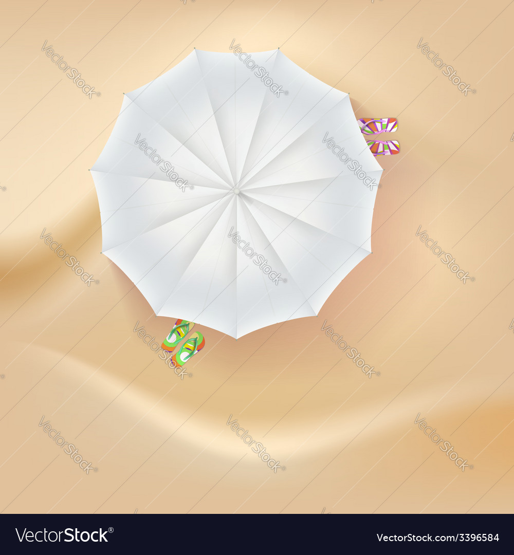 Beach slippers and a sun umbrella on sand vector | Price: 1 Credit (USD $1)