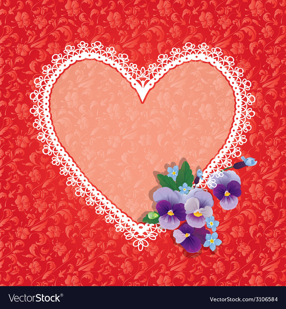 Card with heart shape is made of lace doily and pa vector | Price: 1 Credit (USD $1)