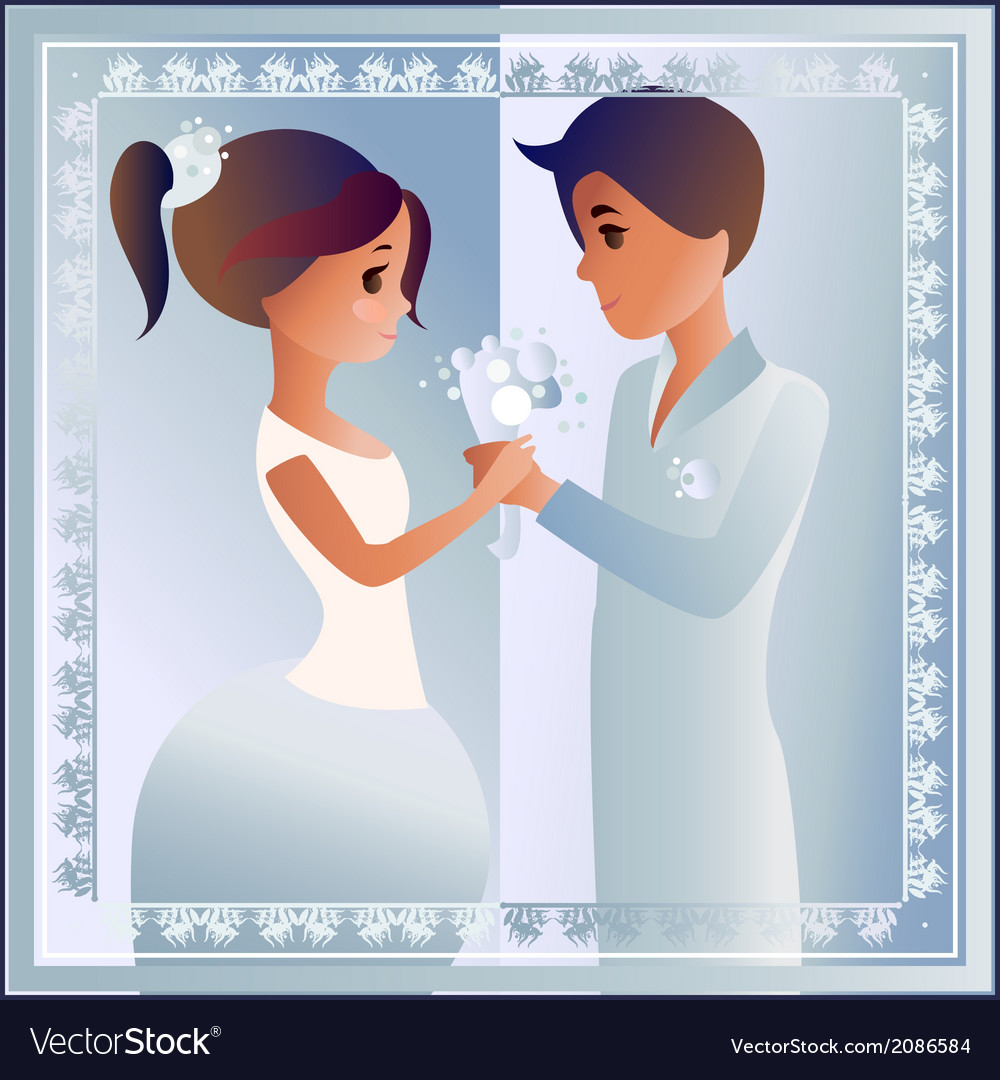 Card with love couple designed for wedding vector | Price: 1 Credit (USD $1)
