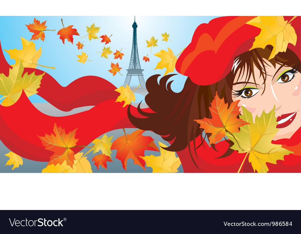 Cute woman face with red scarf and beret vector | Price: 3 Credit (USD $3)