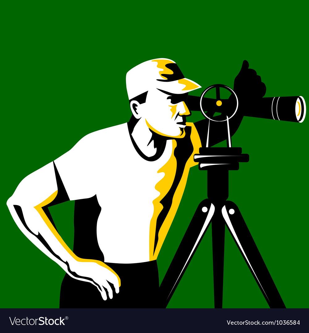 Surveyor geodetic engineer survey retro vector | Price: 1 Credit (USD $1)