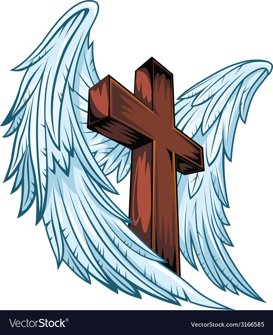 Angel wings with wooden cross vector | Price: 1 Credit (USD $1)