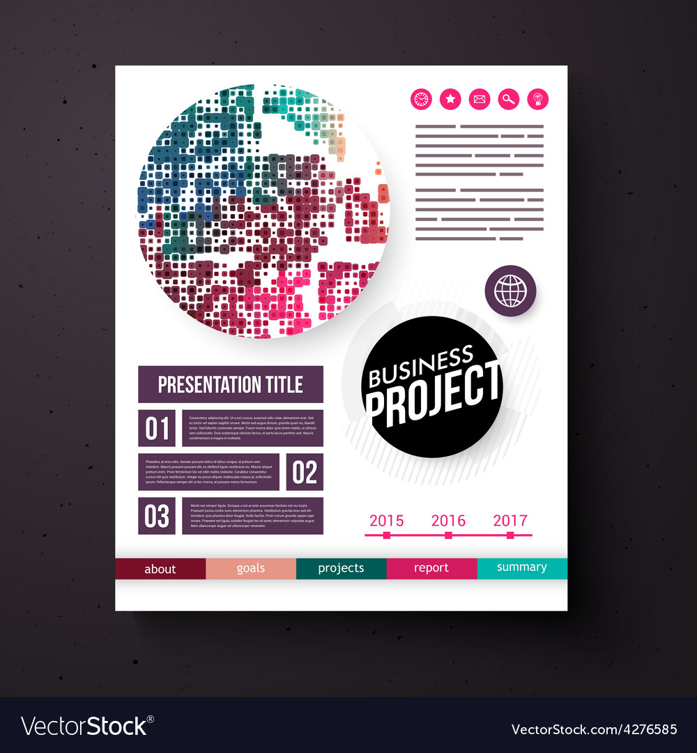 Business project template in retro colors vector | Price: 1 Credit (USD $1)