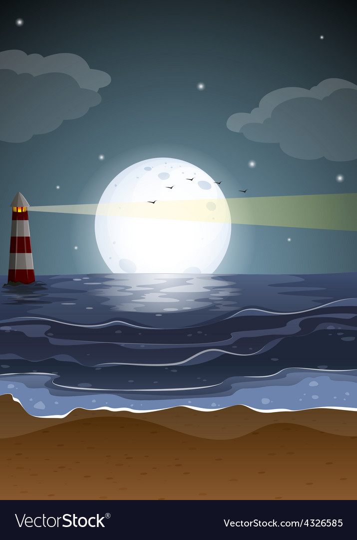 Fullmoon and beach vector | Price: 3 Credit (USD $3)
