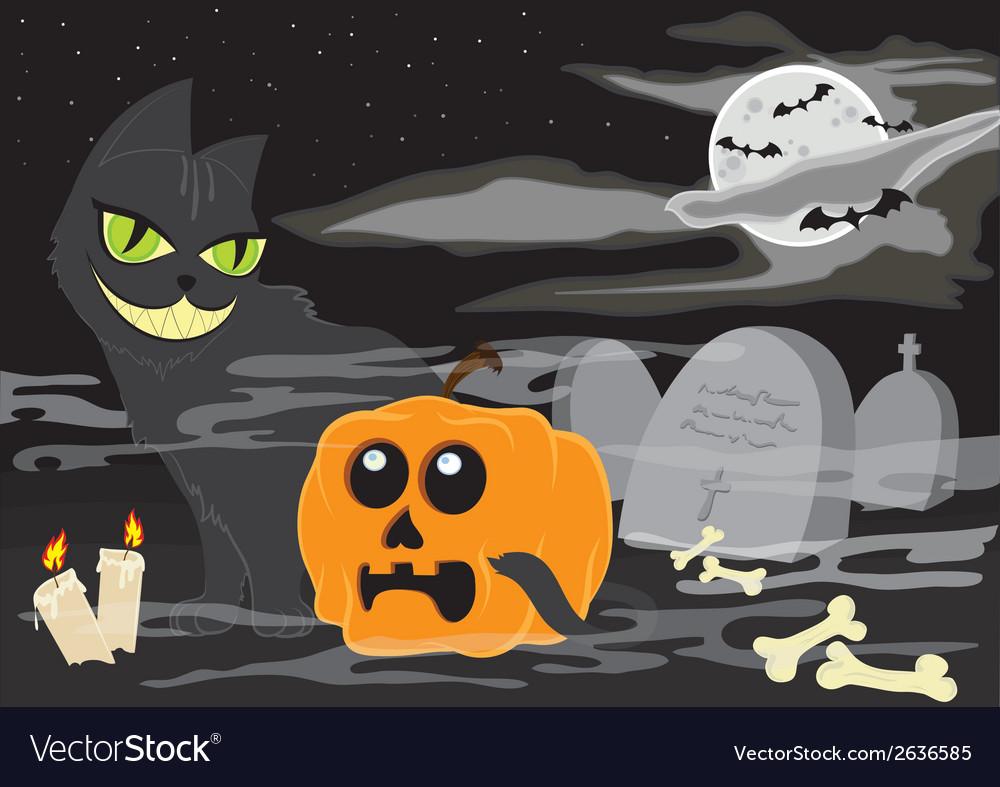 Halloween landscape vector | Price: 1 Credit (USD $1)