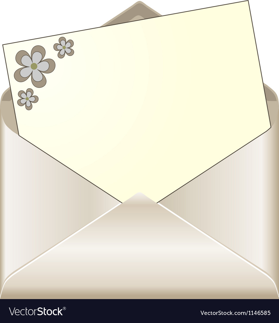 Open envelope with floral stationery vector | Price: 1 Credit (USD $1)