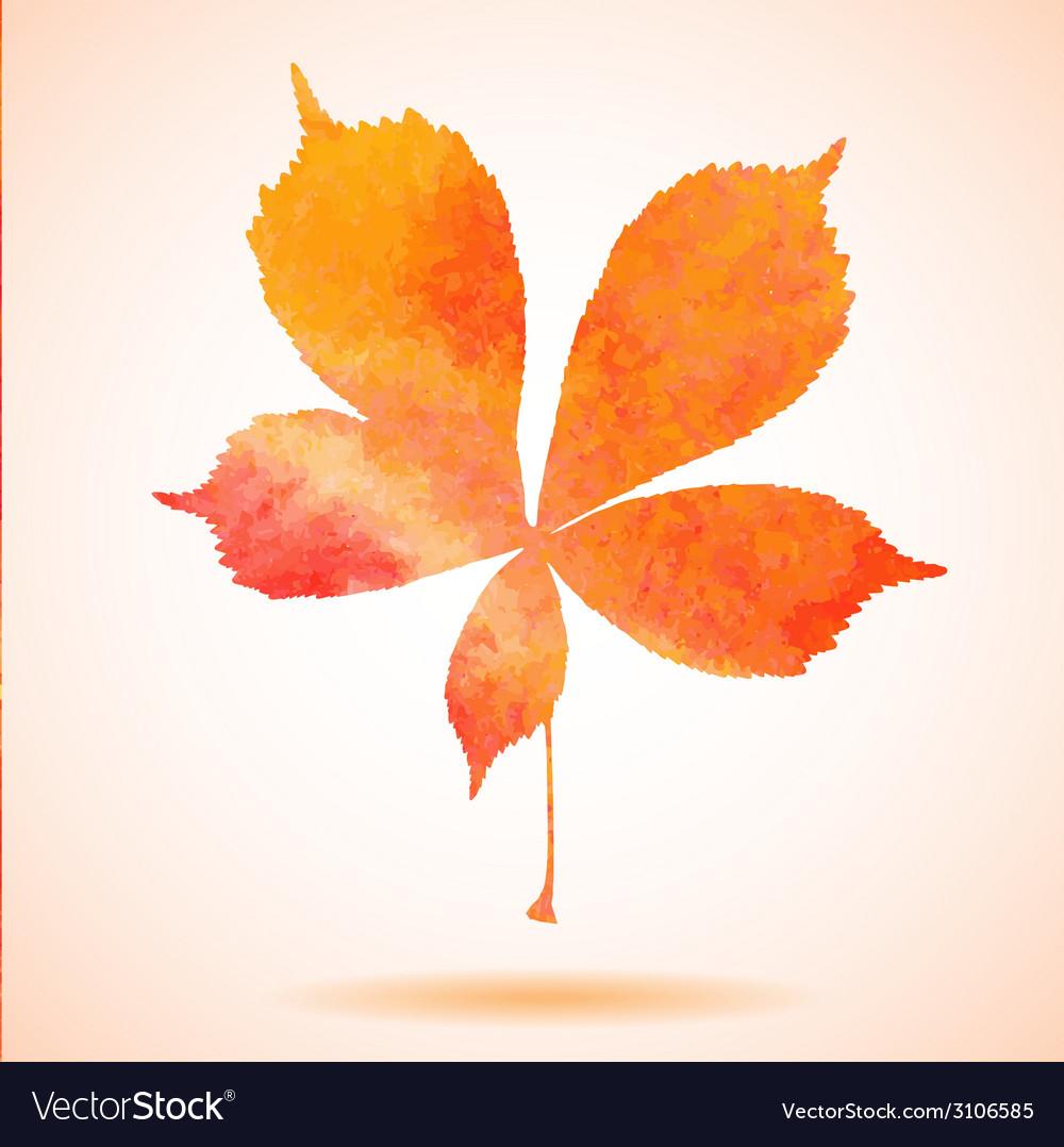 Orange watercolor painted chestnut leaf vector   Price: 1 Credit (USD $1)