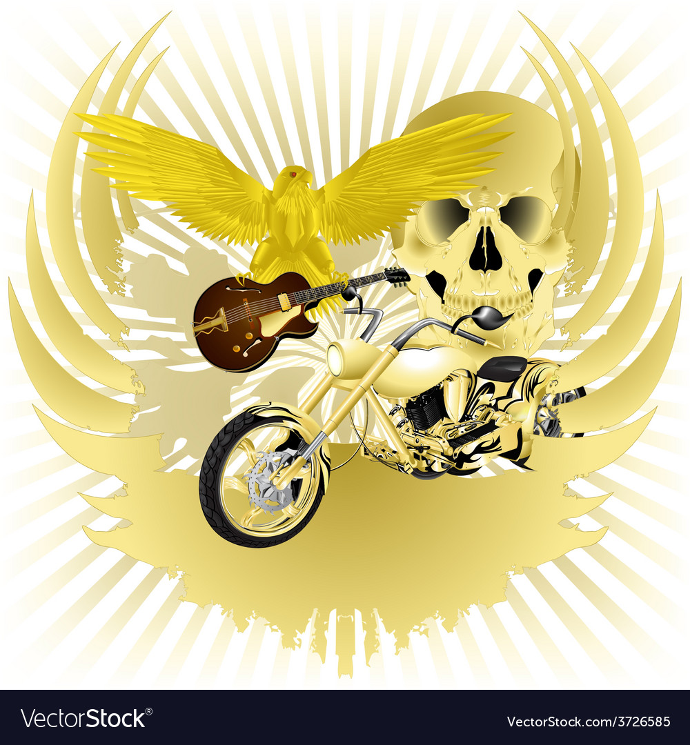 Rock n roll background and golden chopper vector | Price: 3 Credit (USD $3)