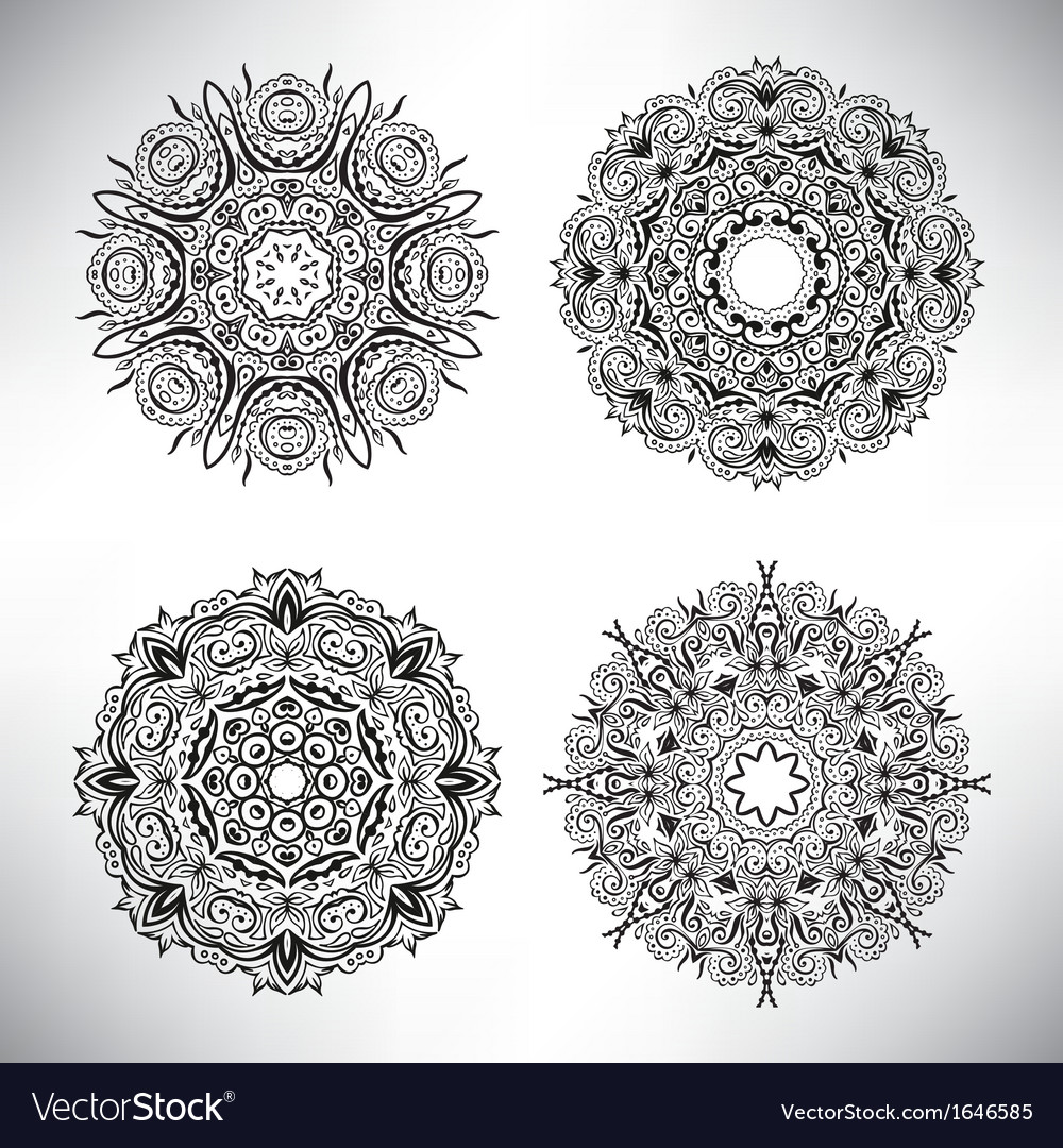 Set of floral elements lace flowers vector | Price: 1 Credit (USD $1)
