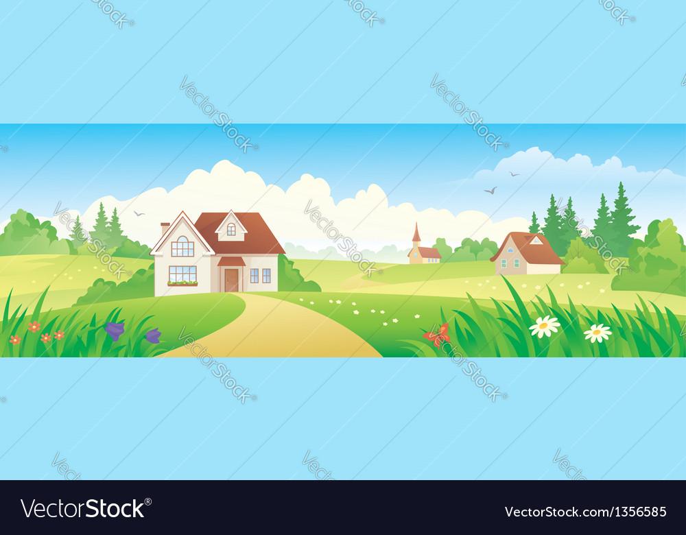 Summer village banner vector | Price: 3 Credit (USD $3)