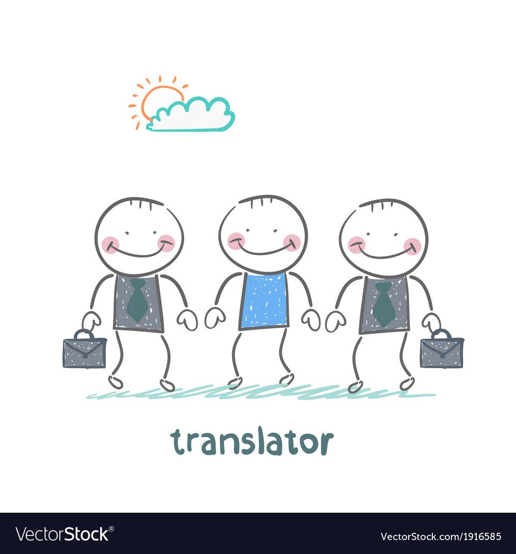 Translator helps foreign businessmen vector | Price: 1 Credit (USD $1)