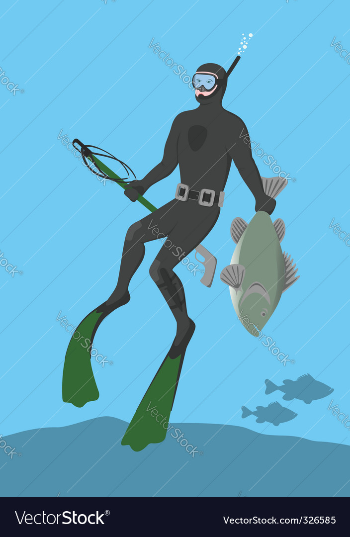 Underwater hunter vector | Price: 1 Credit (USD $1)