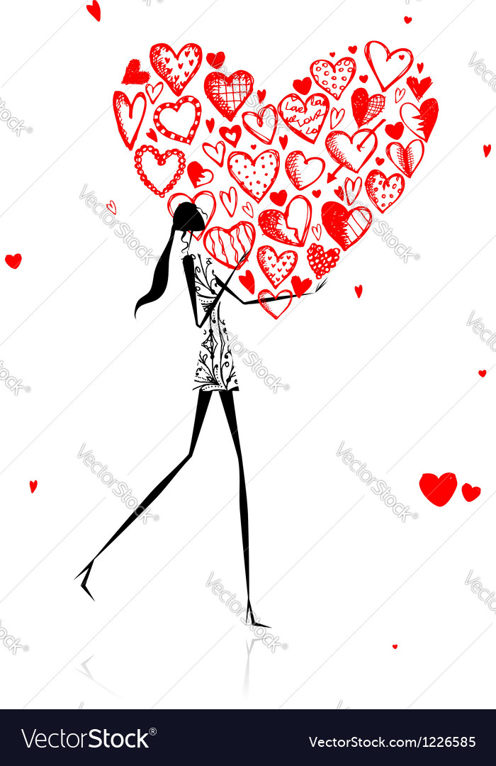 Valentine day girl with big red heart vector | Price: 1 Credit (USD $1)
