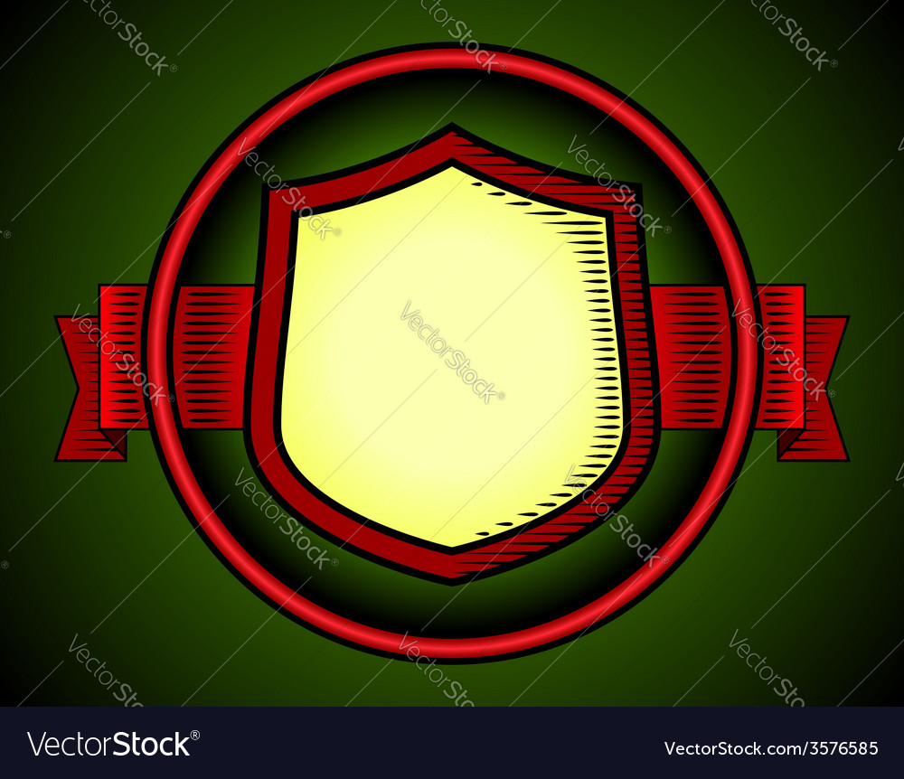 Woodcut shield label vector | Price: 1 Credit (USD $1)