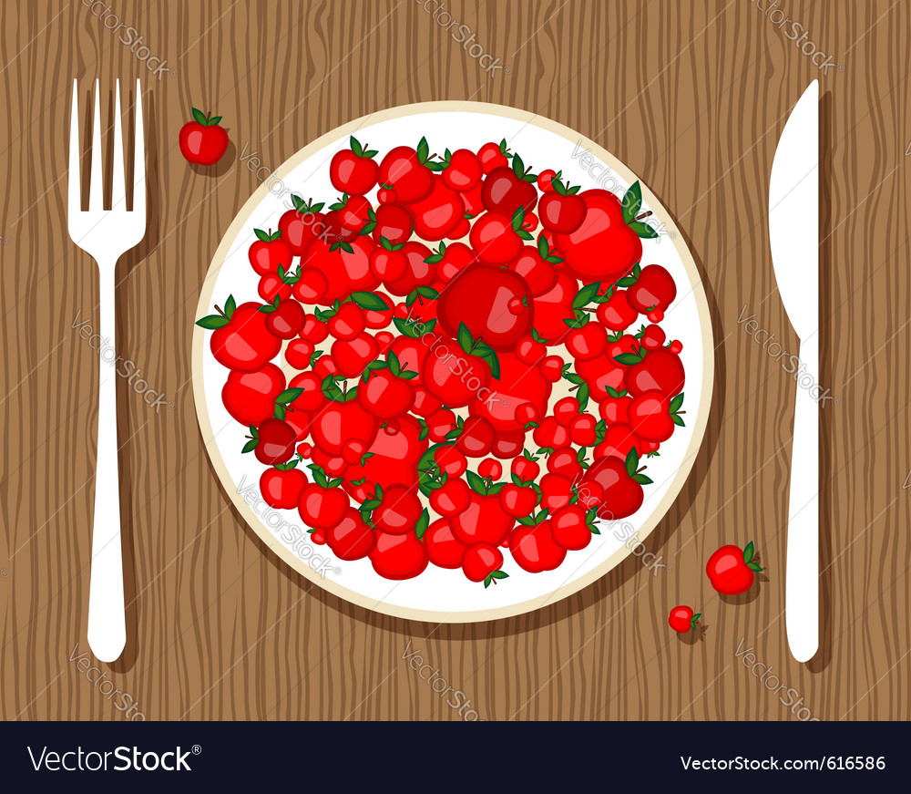 Apples on plate vector | Price: 1 Credit (USD $1)