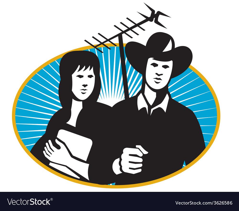 Cowboy girl tv aerial oval vector
