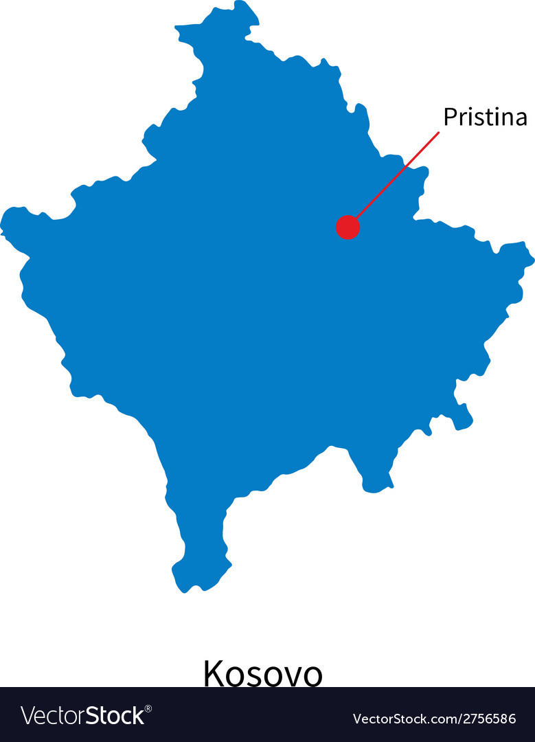 Detailed map of kosovo and capital city pristina vector | Price: 1 Credit (USD $1)