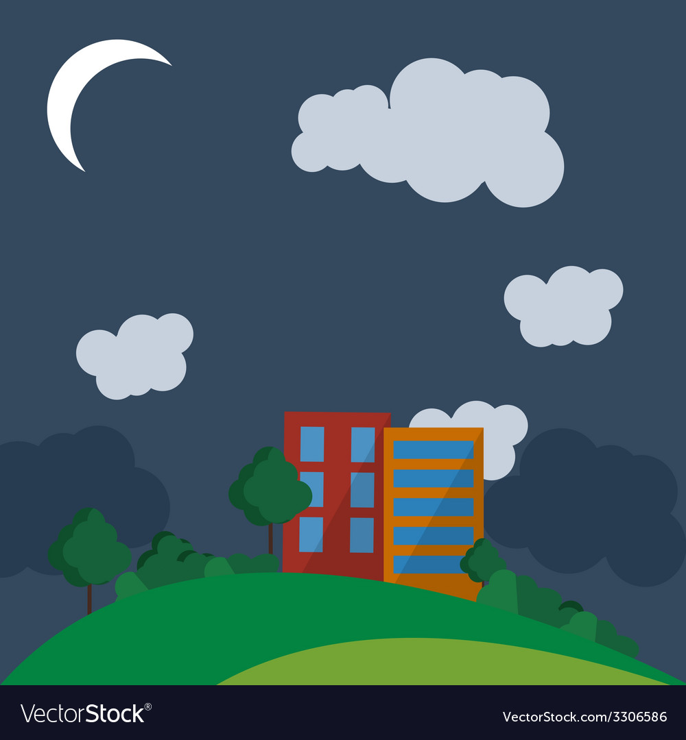 Flat style urban landscape at night vector | Price: 1 Credit (USD $1)