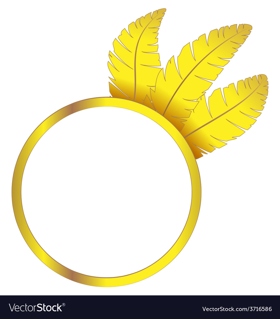Gold frame ring with feathers vector | Price: 1 Credit (USD $1)