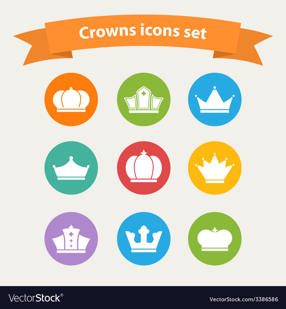 Icons set of different white crowns shapessigns vector | Price: 1 Credit (USD $1)