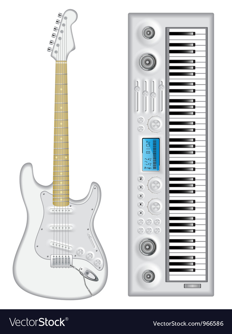 Isolated image of guitar and synthesizer vector | Price: 3 Credit (USD $3)