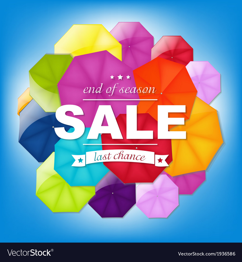 Sale poster with color umbrellas vector | Price: 1 Credit (USD $1)