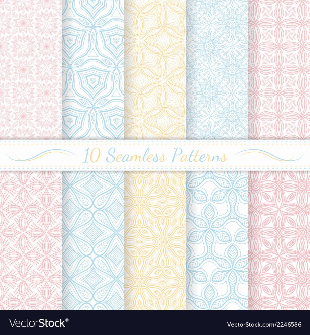 Set of ten seamless modern patterns vector | Price: 1 Credit (USD $1)