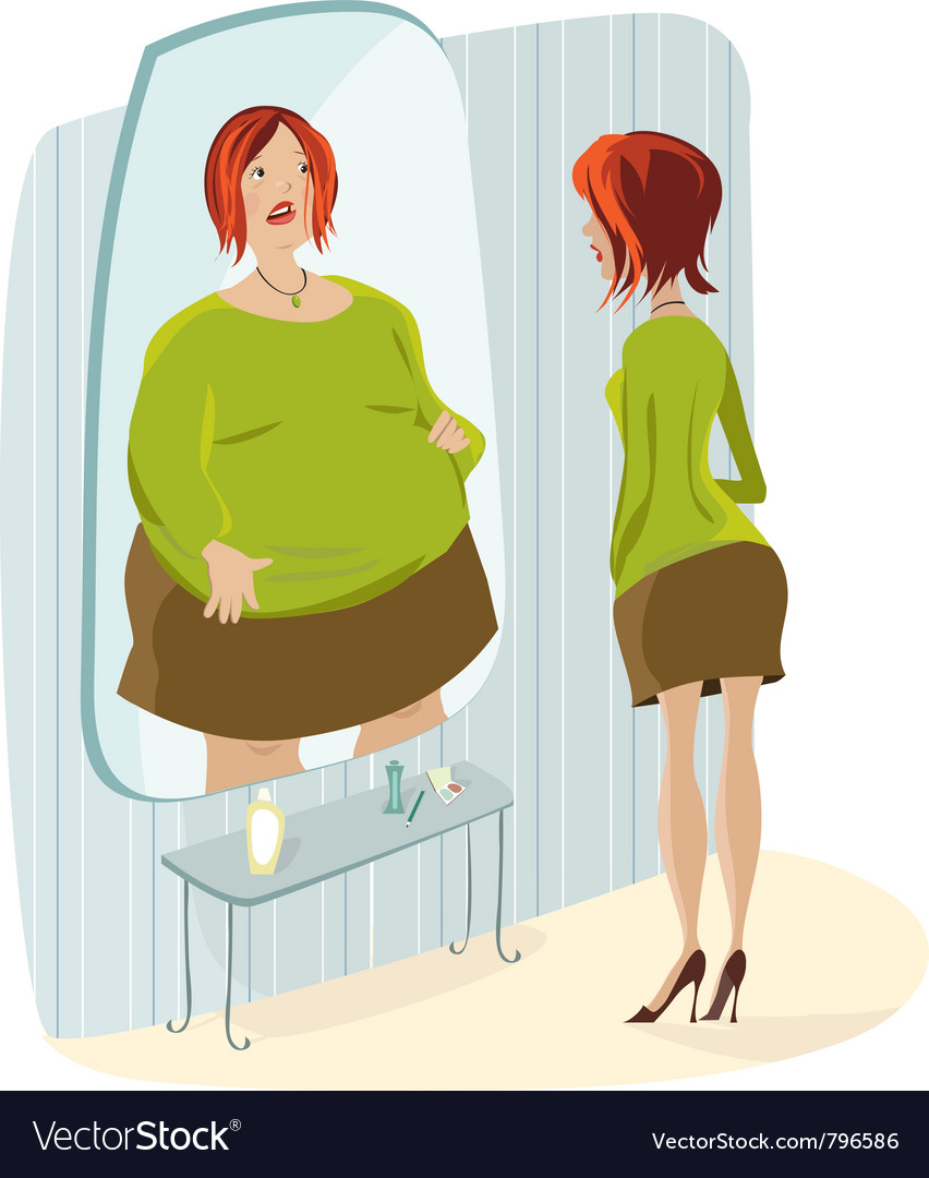 Slim lady and her fat reflection vector | Price: 3 Credit (USD $3)