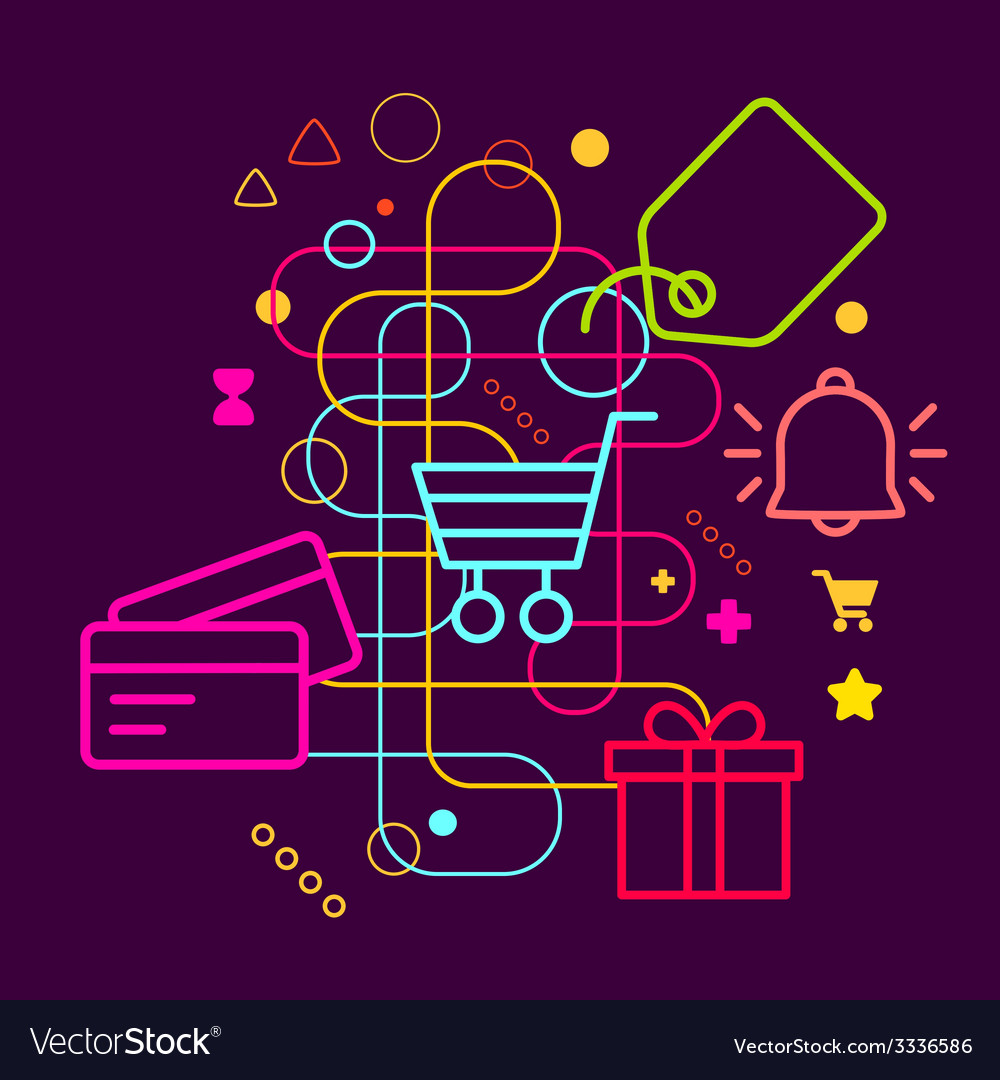 Symbols of shopping on abstract colorful dark vector | Price: 3 Credit (USD $3)