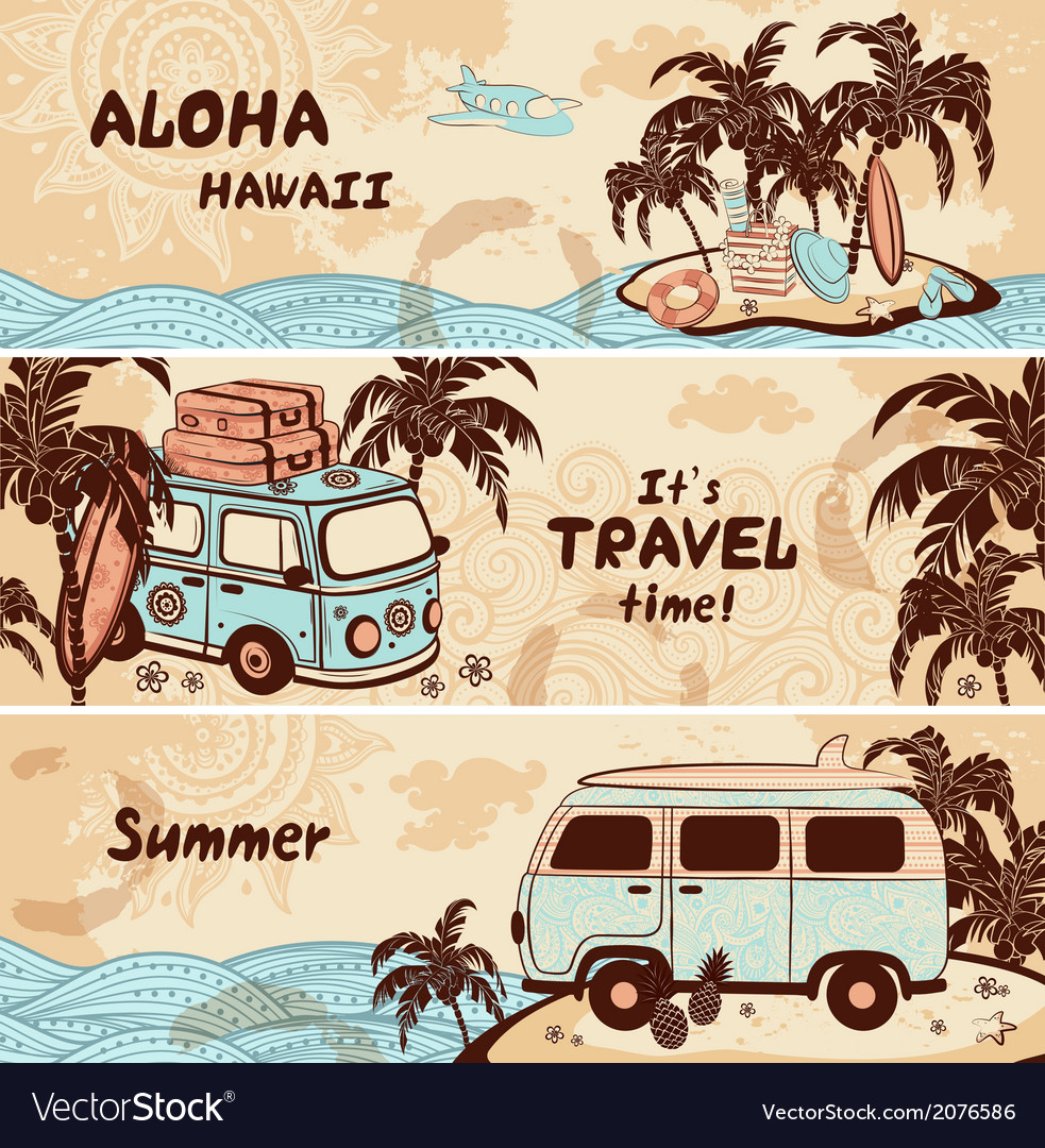 Vintage-summer-and-travel-banners-vector