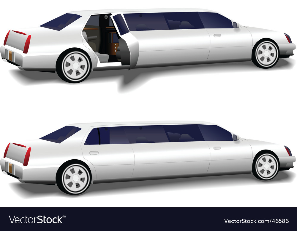White limousine set vector | Price: 1 Credit (USD $1)