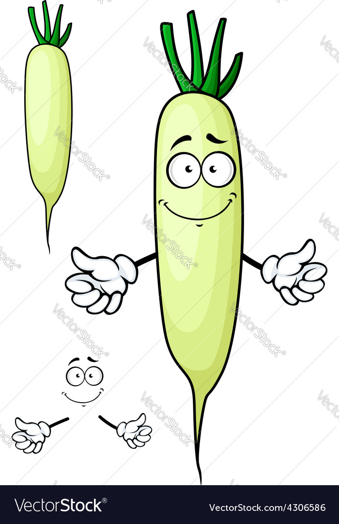 White radish or daikon vegetable cartoon character vector | Price: 1 Credit (USD $1)