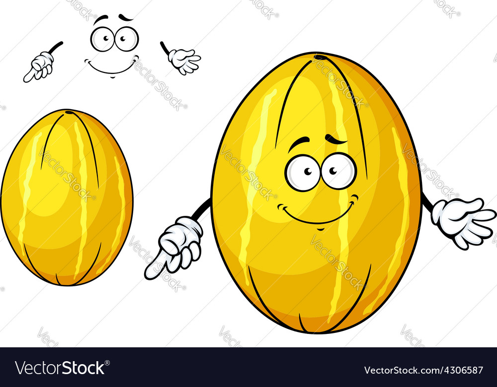 Cute yellow melon fruit cartoon character vector | Price: 1 Credit (USD $1)