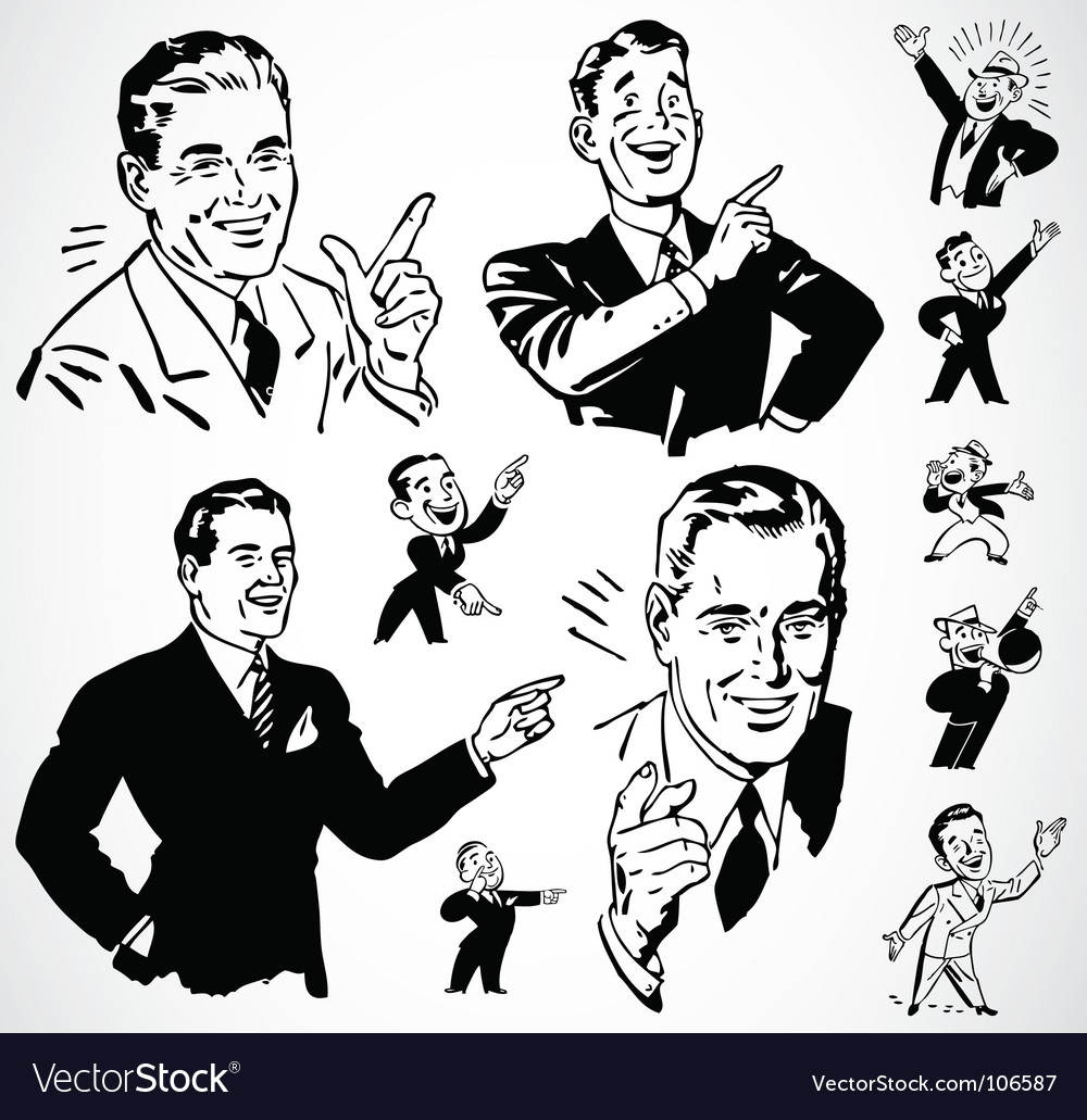 Retro men pointing vector | Price: 1 Credit (USD $1)