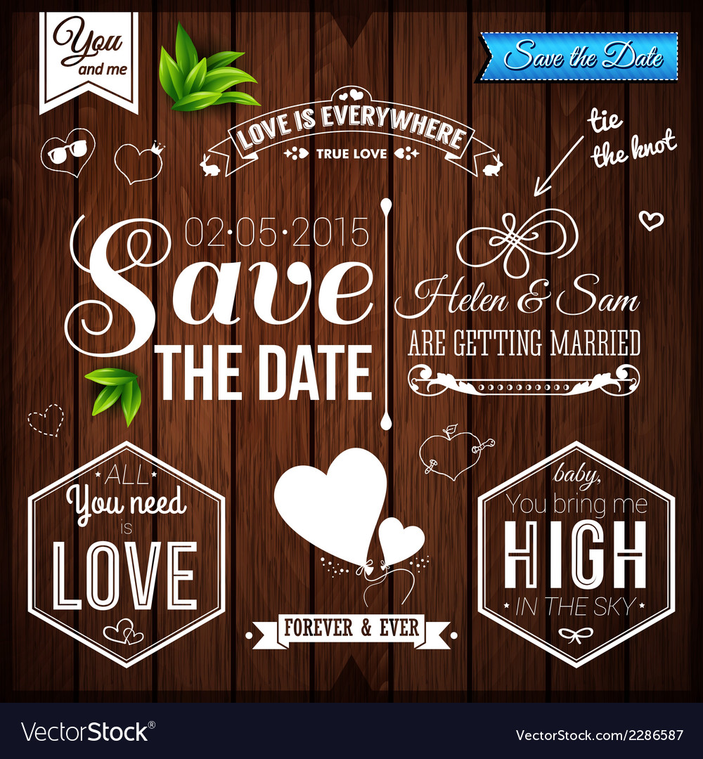 Save the date for personal holiday wedding set on vector | Price: 1 Credit (USD $1)