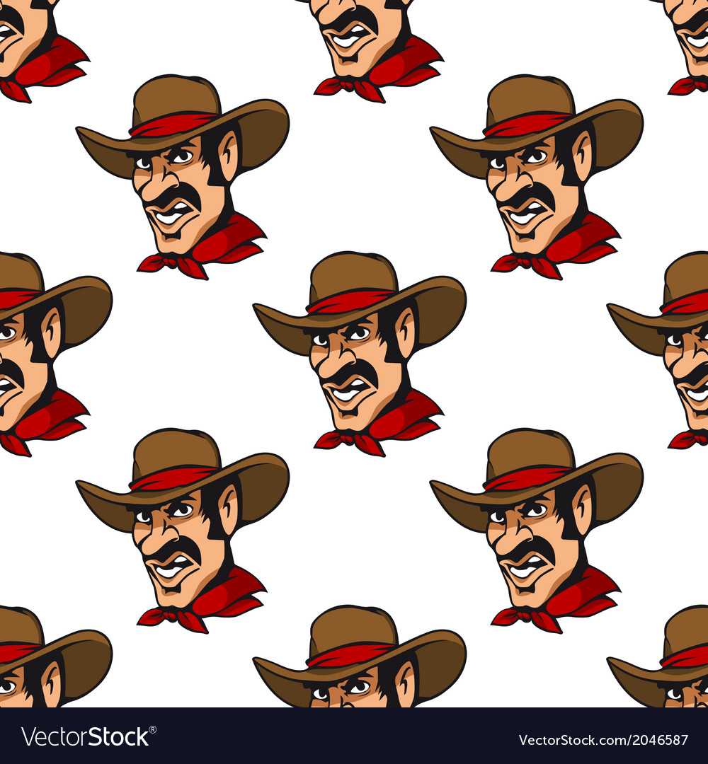 Seamless background with cowboy in hat vector | Price: 1 Credit (USD $1)