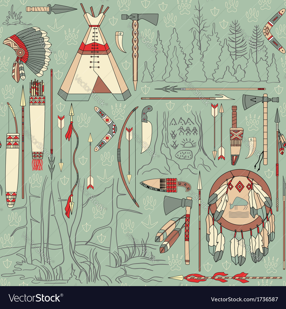Seamless native american pattern with forest vector | Price: 1 Credit (USD $1)