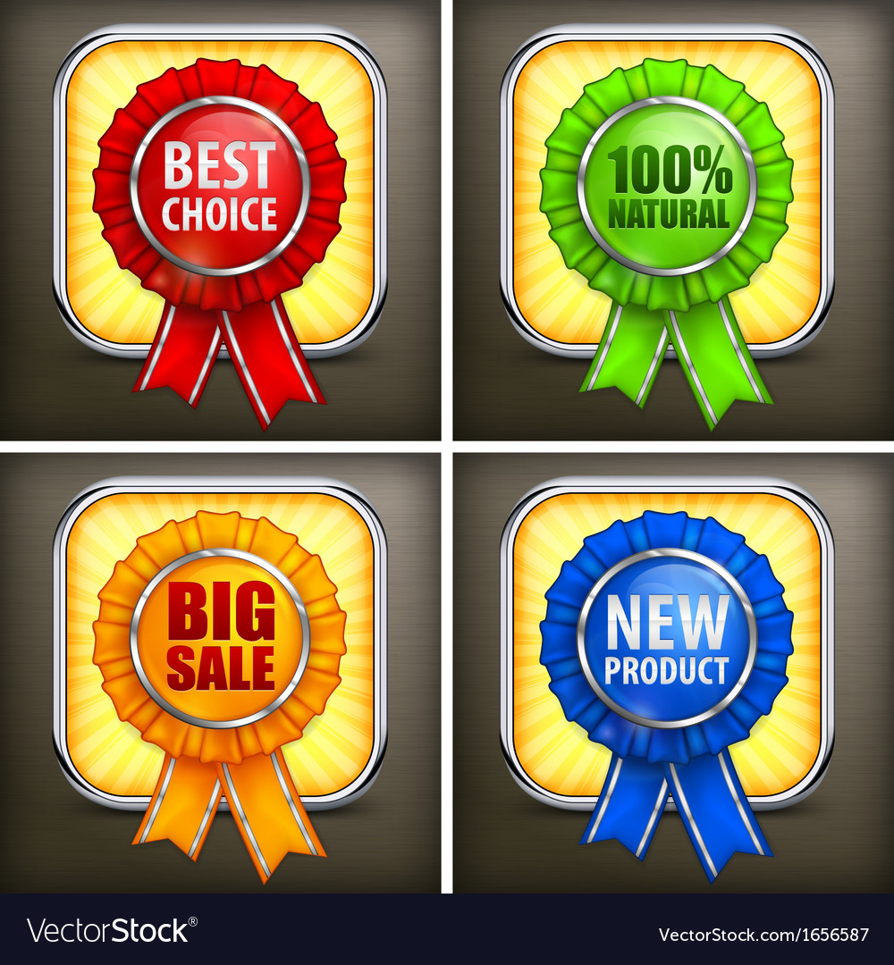 Set of color award labels on vector | Price: 1 Credit (USD $1)
