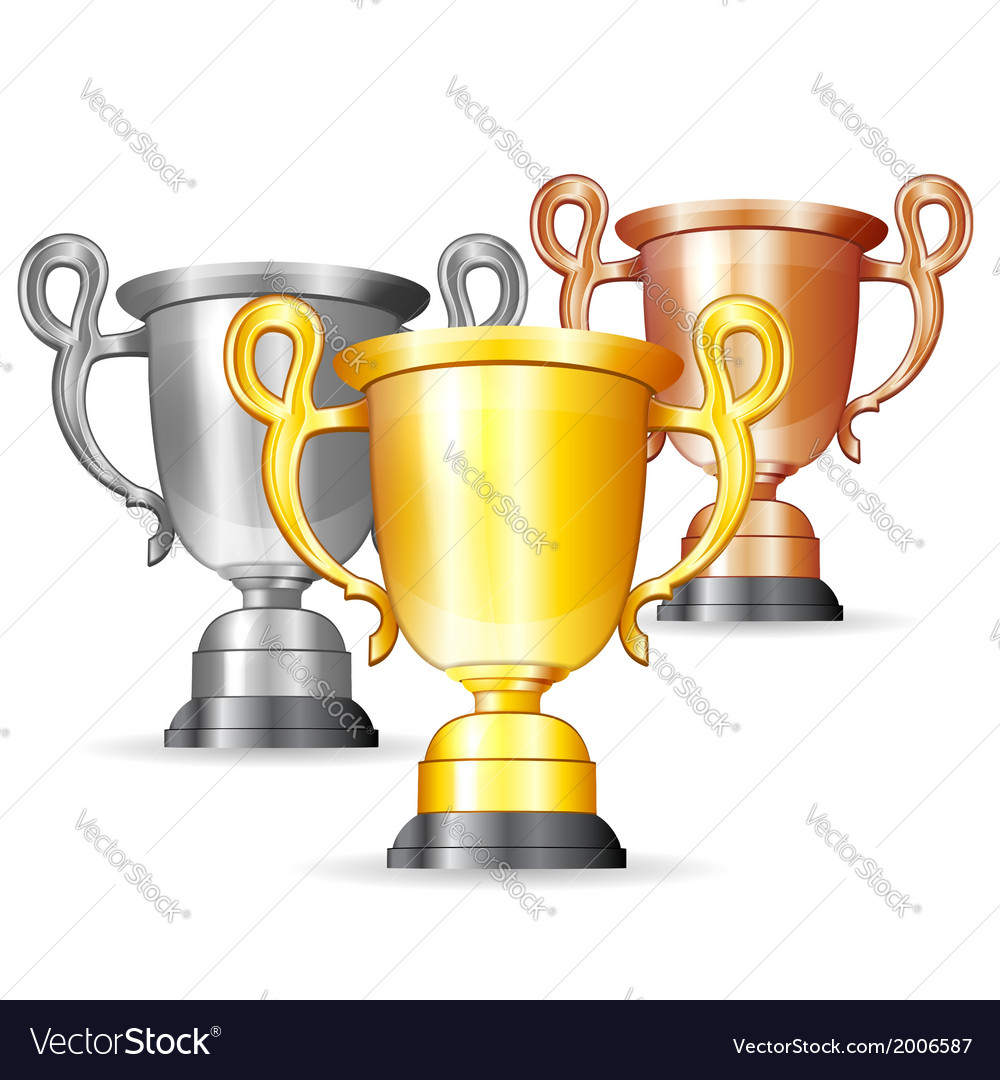 Set of gold silver and bronze trophies vector | Price: 1 Credit (USD $1)